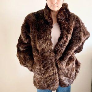 Vintage Rabbit Fur Brown Plush Dolman Sleeve Winter Coat Jacket